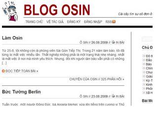 Giao diện trang Blog Osin.